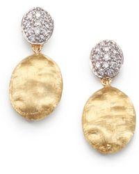 Marco Bicego - Siviglia Diamond, 18k Yellow & White Gold Drop Earrings - Lyst