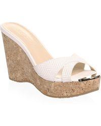 Jimmy Choo - Knit Embossed Wedge Platform Sandals - Lyst