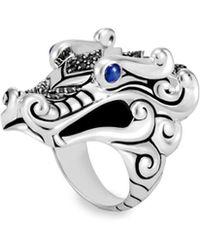 John Hardy - Legends Naga Black & Blue Sapphire Dragon Ring - Lyst