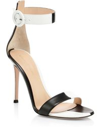 515e7877840095 Gianvito Rossi Folie Metallic Leather Ankle-wrap Sandals in Metallic ...