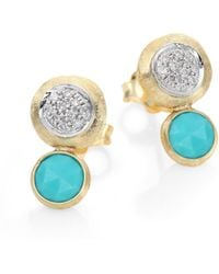 Marco Bicego - Jaipur Diamond, Turquoise & 18k Yellow Gold Double-drop Earrings - Lyst