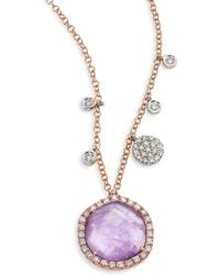 Meira T - Diamond, Tanzanite, 14k Rose Gold & 14k White Gold Pendant Necklace - Lyst