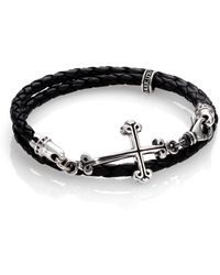 King Baby Studio - Cross Double-wrap Leather Bracelet - Lyst