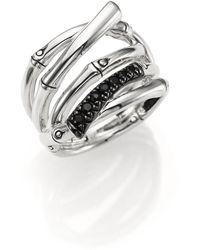 John Hardy - Bamboo Black Sapphire & Sterling Silver Multi-row Ring - Lyst