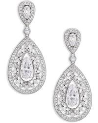 Adriana Orsini - Pavé Crystal Small Pear Drop Earrings/silvertone - Lyst