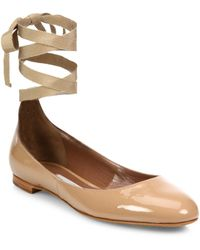 Tabitha Simmons - Daria Patent Leather Ankle-wrap Ballet Flats - Lyst