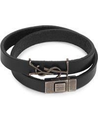 Saint Laurent - Logo Leather Bracelet - Lyst
