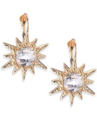 Anzie - Aztec White Topaz & 14k Yellow Gold Starburst Earrings - Lyst