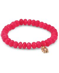Sydney Evan - Medium Ladybug Diamond, Ruby & Hot Pink Chalcedony Beaded Bracelet - Lyst