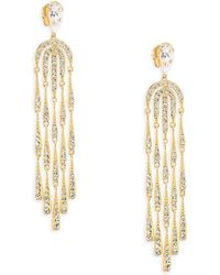 Adriana Orsini - 18k Yellow Gold Waterfall Crystal Chandelier Earrings - Lyst