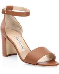 63accc392dbf Lyst - Manolo Blahnik Lauratomod Suede Ankle-strap Block-heel ...