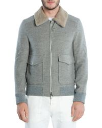 Eleventy - Wool & Cashmere Shearling Collar Bomber Jacket - Lyst