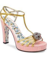 Gucci - Leather T-strap Crystal Feline Head Sandals - Lyst