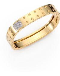 Roberto Coin - Pois Moi Diamond And 18k Yellow Gold Two-row Bangle Bracelet - Lyst