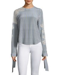Robert Rodriguez - Lace Striped Blouse - Lyst