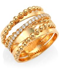 Hueb - Bubble Rose Gold & Diamond Stacked Ring - Lyst