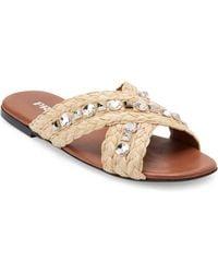Prada - Embellished Raffia Slides - Lyst
