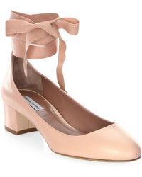 Tabitha Simmons - Chloe Leather Ankle-wrap Block Heel Court Shoes - Lyst