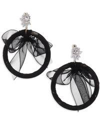 Fallon - Monarch Tuxedo Bow Hoop Earrings - Lyst