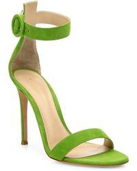 Gianvito Rossi - Portofino Suede Ankle-strap Sandals - Lyst