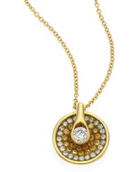 Plevé - Opus Diamond & 18k Yellow Gold Round Pendant Necklace - Lyst