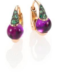Pomellato - M'ama Non M'ama Amethyst, Tsavorite & 18k Rose Gold Leverback Earrings - Lyst