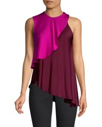 MILLY - Nora Stretch Silk Layered Halter Blouse - Lyst