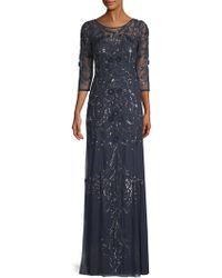 Aidan Mattox - Beaded Illusion Gown - Lyst