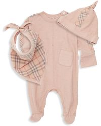 Burberry - Baby Girl's Colby 3-piece Beanie, Bib & Footie Set - Lyst