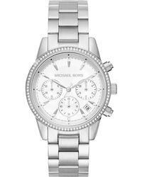 Michael Kors - Ritz Studded Stainless Steel Chronograph Bracelet Watch Mk6428 - Lyst