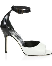 a62b638d608 Manolo Blahnik - Women s Adecua Leather Sandals - White - Size 39.5 (9.5) -