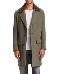 Brunello Cucinelli - Wool & Cashmere Shearling Collar Overcoat - Lyst