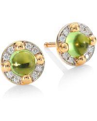 Pomellato - M'ama Non M'ama 18k Rose Gold Peridot & Diamond Stud Earrings - Lyst