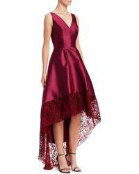 ML Monique Lhuillier - Lace Trim High-low Gown - Lyst