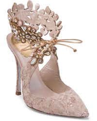 Rene Caovilla - Embellished Ankle Lace Pump - Lyst