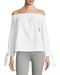 7 For All Mankind - Off-the-shoulder Cotton Top - Lyst