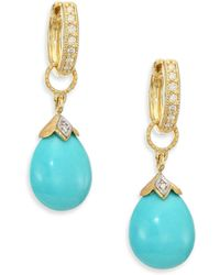 Jude Frances - Lisse Turquoise, Diamond & 18k Yellow Gold Pear Briolette Earring Charms - Lyst