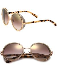 48f61f4f9b3 Lyst - Jimmy Choo Jc Andie n B1a Palladium Black Round Sunglasses in ...