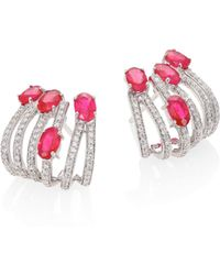 Hueb | Rainbow Diamond, Ruby & 18k White Gold Ear Cuffs | Lyst