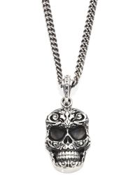 King Baby Studio - Sterling Silver Carved Baroque Skull Pendant Necklace - Lyst