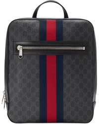05d5f740e022 Gucci - Men's GG Supreme Web Backpack - Black Grey Blue Red - Lyst