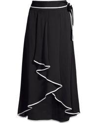 Beatrice B. - Women's Tie-waist Contrast Piping High-low Midi Skirt - Nero - Lyst