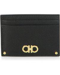 Ferragamo - Women's Gancini Leather Id Holder Card Case - Black - Lyst