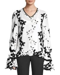 Josie Natori - Embroidered Long Sleeve Top - Lyst
