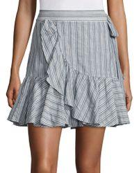 Rebecca Taylor - Ruffle Trim Stripe Mini Skirt - Lyst
