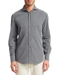 Brunello Cucinelli - Cord Basic Cotton Button-down Shirt - Lyst