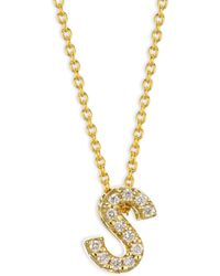 Roberto Coin - Tiny Treasures Diamond & 18k Yellow Gold Letter S Necklace - Lyst