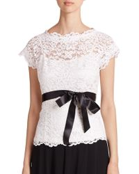 Teri Jon - Lace Belted Blouse - Lyst