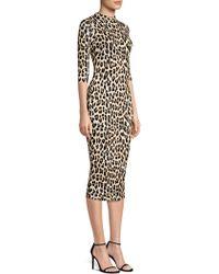 Alice + Olivia - Delora Leopard Print Bodycon Dress - Lyst