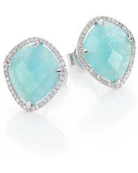 Meira T - Blue Amazonite, Diamond & 14k White Gold Stud Earrings - Lyst